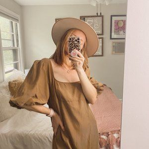 Free People Tan Puff Sleeve Tiered Midi Dress